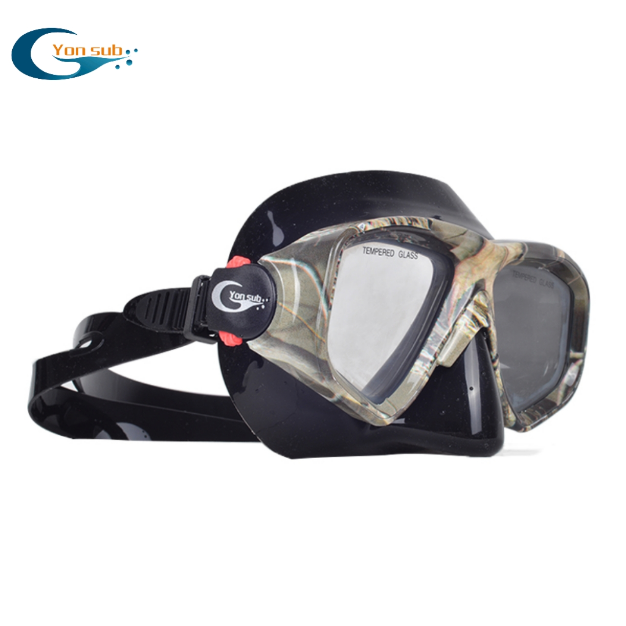 Camo adult adjustable buckle silicone diving mask
