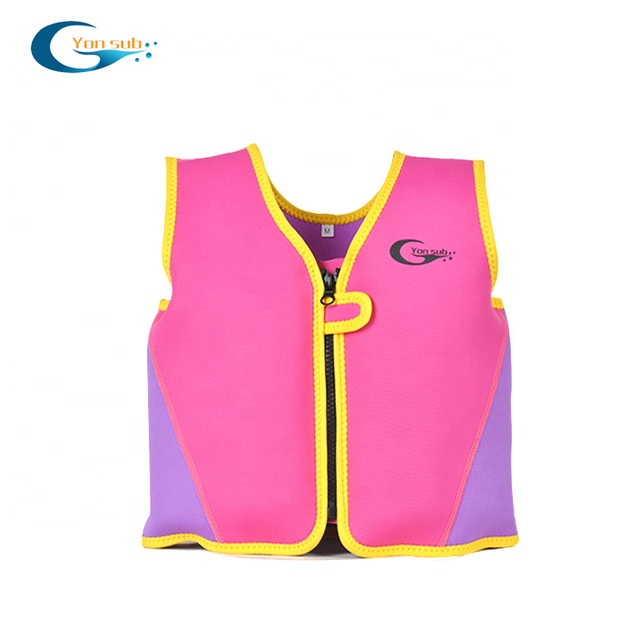 Pink color neoprene baby kids foam life jacket vest