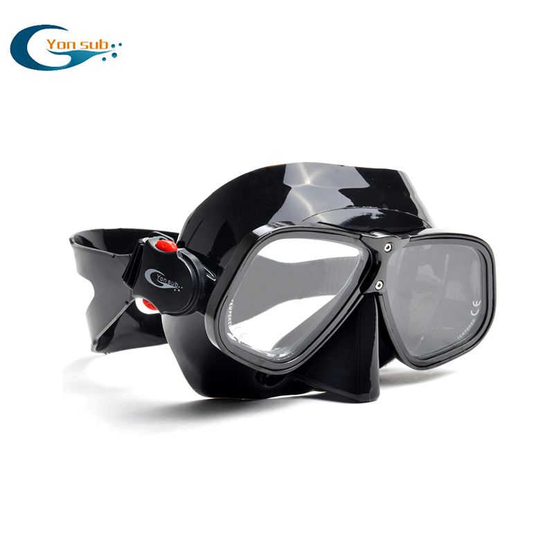 Black color aluminium alloy frame silicone spearfishing diving mask