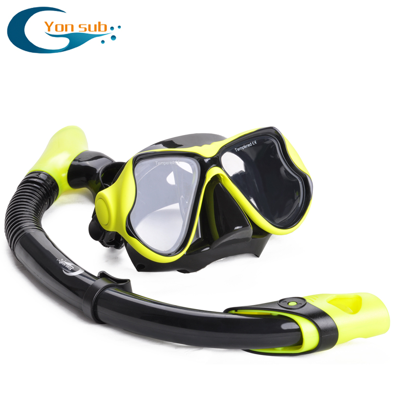 Silicone Scuba Diving Swimming Mask and Snorkel Set Tempered Glass Double Lenses Swimming Goggles Underwater Equipment