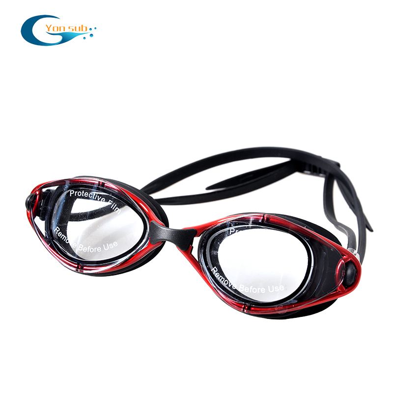 Wide view colored mirrored glass silicone swimming goggles